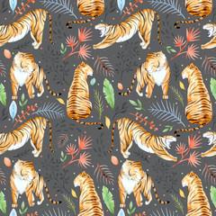 Watercolor vector tropical pattern