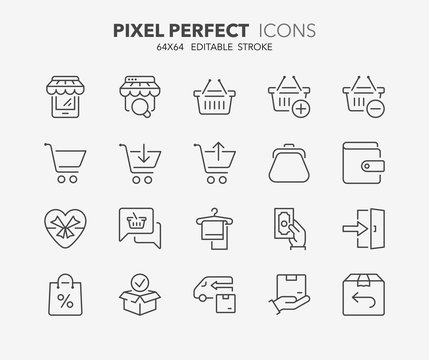 shopping thin line icons 3