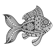 Hand drawn zentangle fish with ethnic pattern. Doodle art. Vector illustration