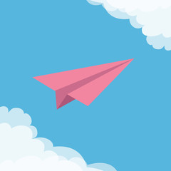 Flying origami pink paper plane. Cloud in corners frame. Transportation collection. Greeting card Typographical blue sky background. Flat design