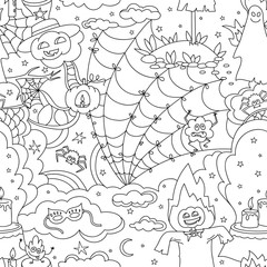 Happy Halloween seamless pattern with pumpkins, ghosts, spiders.