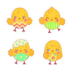 Set with cute cartoon chickens with painted belly on white background. Happy Easter design elements with chicks. Vector illustration for greeting card, scrapbook, party decoration, etc.