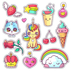 Cool girlish stickers set in 80s-90s pop art comic style. Patch badges and pins with cartoon animals, food and things. Vector crazy doodles with unicorn, kitten, cloud with rainbow etc.