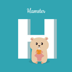 Hamster with letter H isolated on blue. Alphabet.