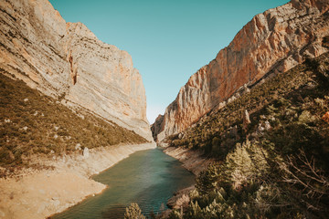 A river in the Mont-Rebei Canyon, Lleida, Spain