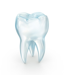 Tooth over white surface. 3d illustration.