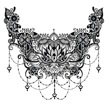 Lotus tattoo. Template for tattoo design with mehndi elements. Floral ornament.
