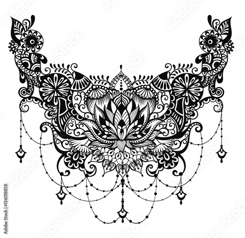 Lotus tattoo. Template for tattoo design with mehndi elements ...