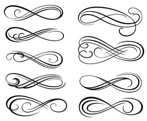 Infinity symbols. Vector Swirl Elements for your Design . Vintage Decorative