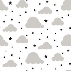 Starlight night sky seamless kid vector pattern. White background. Minimalist baby style textile fabric cartoon scandinavian ornament.