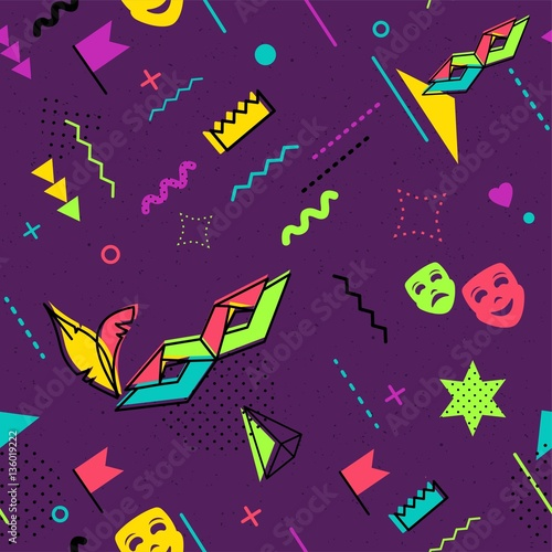 Mardi Gras abstract background in 80s memphis style