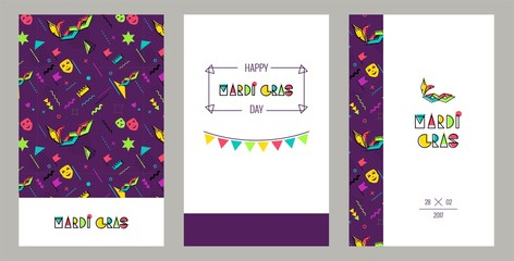 Carnival invitation cards in 80s memphis style. Mardi Gras Party Posters. Vector flat illustration