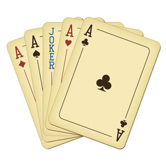 Five of a Kind - Aces and Joker - vintage playing cards vector illustration