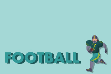 Comic american footbal player with ball in flat. Cartoon picture