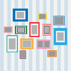 Colorful blank frame on wall. Photo art gallery