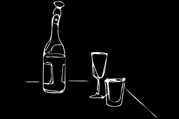 vector sketch of a champagne bottle and glasses of wine on the t