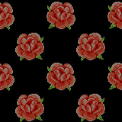 Seamless Pattern with Cross Stitch Red Roses