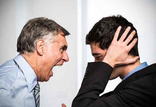 Boss yelling to an employee