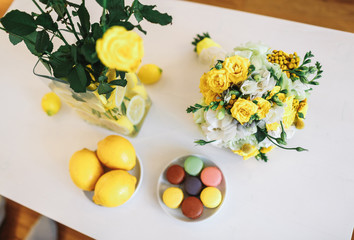 Wedding bouquet, lemons and macaroons
