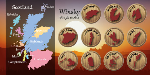 whisky - écosse - carte - coucher de soleil