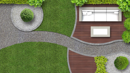 garten aus der Vogelperspektive mit Gartenmöbeln