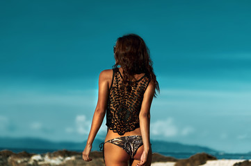 Back view of young beautiful brunette woman over blue sky - fash