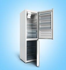 Stainless steel modern refrigerator on blue gradient 3d render