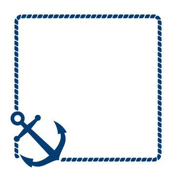 Icono plano ancla con marco de cuerda azul en fondo blanco