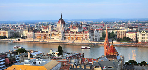 Panoramic view of Budapest skyline and Danube river