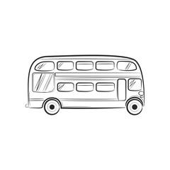 Hand draw sketch Transportation Travel icon bus. Vector illustration