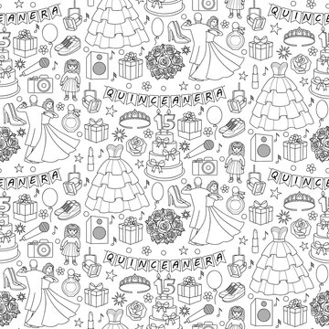 Quinceanera Seamless Pattern