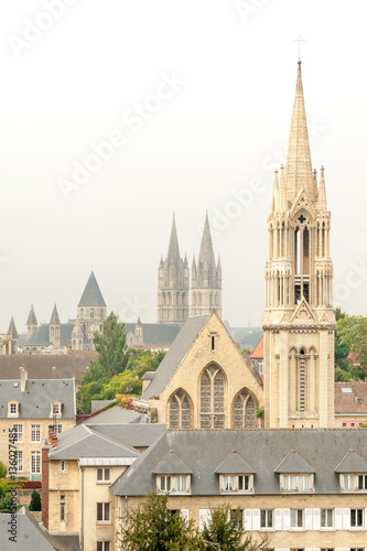 view of downtown caen with church of saint pierre and abbey of saint etienne france stock. Black Bedroom Furniture Sets. Home Design Ideas