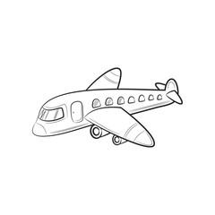 Hand draw sketch Transportation Travel icons plane. Vector illustration