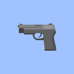 Black gun isolated on blue background. Automatic pistol flat style icon. Vector illustration.