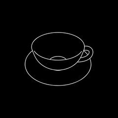 Empty Coffee cup. Isolated on black background. Vector outline i