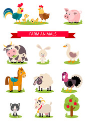Big set isolated farm birds, animals. Vector collection funny animals. Cute domestic animals in cartoon style. Pig, rooster, hen, chicken, horse, cow, rabbit, goose, duck, sheep, turkey, cat, goat