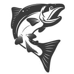 Salmon icon isolated on white background. Seafood. Design elemen