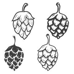 Set of hop icons isolated on white background. Design elements f