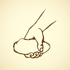 Hand holding a stone. Vector drawing