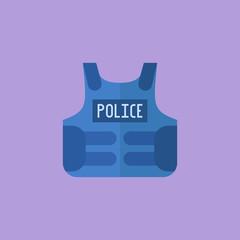 Police bulletproof vest isolated on purple background. Flat style icon. Vector illustration.