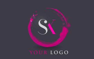 SX Letter Logo Circular Purple Splash Brush Concept.