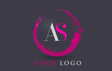 VS Letter Logo Circular Purple Splash Brush Concept.