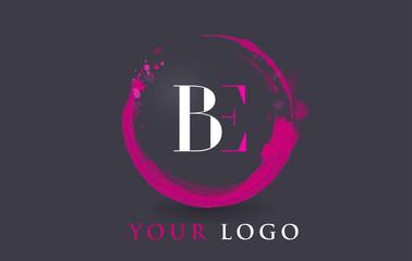 BE Letter Logo Circular Purple Splash Brush Concept.
