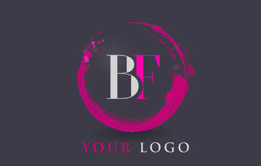 BF Letter Logo Circular Purple Splash Brush Concept.