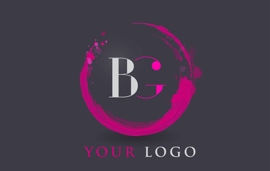 BG Letter Logo Circular Purple Splash Brush Concept.