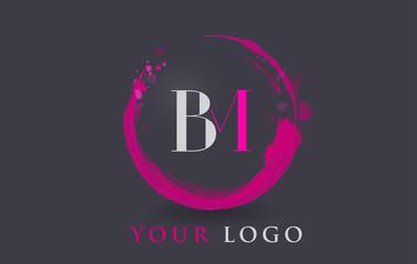 BM Letter Logo Circular Purple Splash Brush Concept.