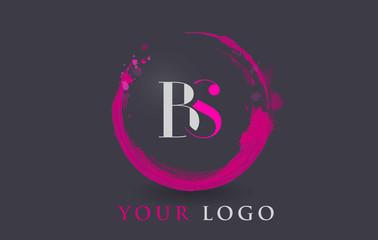 BS Letter Logo Circular Purple Splash Brush Concept.