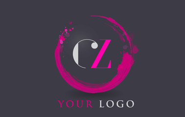 CZ Letter Logo Circular Purple Splash Brush Concept.