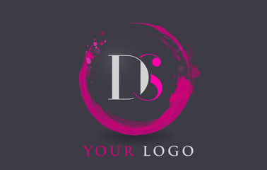 DS Letter Logo Circular Purple Splash Brush Concept.