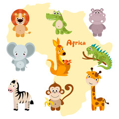 Animals of Africa. Vector set of cartoon jungle animals: lion, crocodile, hippo, elephant, kangaroo, iguana, zebra, monkey, giraffe. Vector illustration